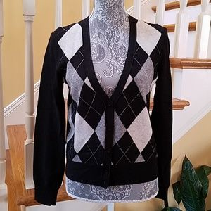J. Crew Argyle Cardigan Sweater
